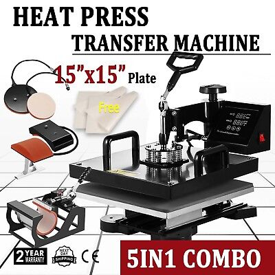 5in1 T-shirt Heat Press Transfer Kit Multifunctional Digital Swing Away 15x15