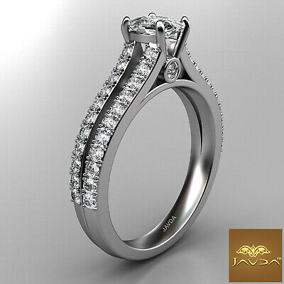 Cushion Cut Diamond Split Shank Engagement Ring GIA F VVS2 18k White Gold 1.15Ct 2