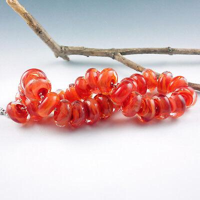 """8 Handmade Lampwork Glass Beads, Artist made Beads - """"Bonfire"""""""