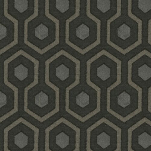 CONTEMPORARY GEOMETRIC WOVEN UPHOLSTERY FABRIC MULTI GRAPHITE 5 YARDS
