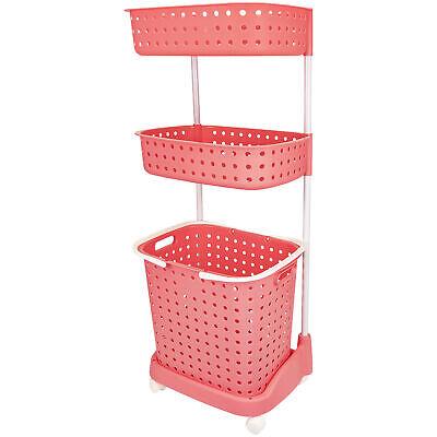 3 Tier Rolling Laundry Basket W/ Shelves Storage Organizer for Detergent Pink Home & Garden