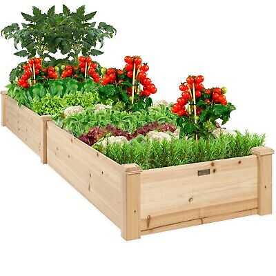 Best Choice Products 8x2ft Outdoor Raised Wooden Garden Bed Planter for Grass,