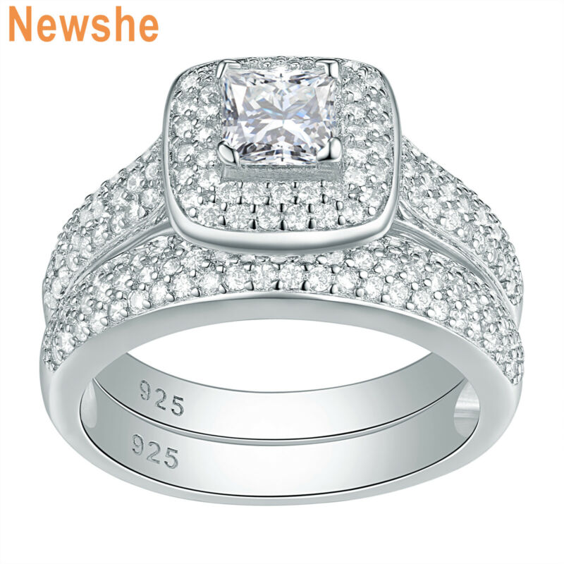 Newshe Wedding Engagement Ring Set 2.8ct Princess Cz 925 Sterling Silver Sz 5-12