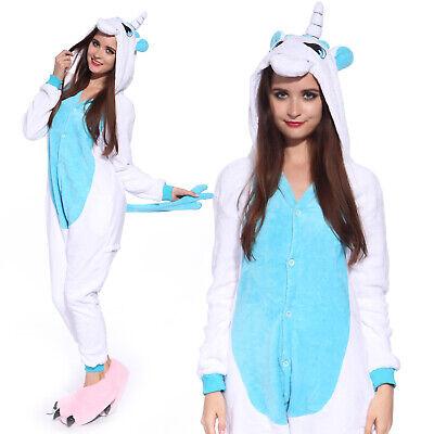 ton Jumpsuit Einhorn Warm für Erwachsene Weiß-Blau Größe XL (Weißes Einhorn-kostüm)
