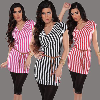 Gürtel Top Shirt (Sexy Longtop Longshirt Minikleid gestreift mit Gürtel und Zips, S/M/L 36/38/40)