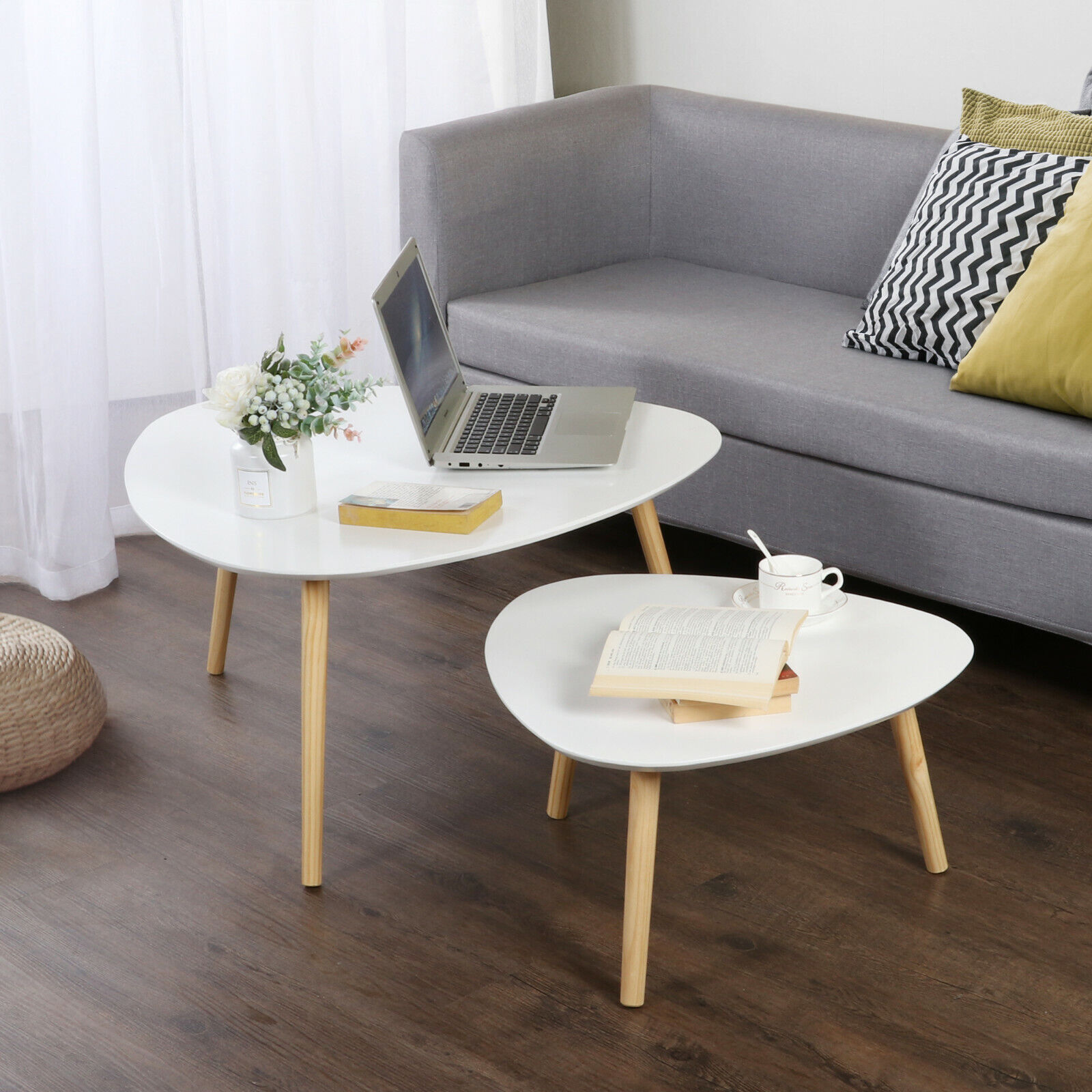 - Modern Nest Of Tables White Retro Furniture Side Set Of 2 Coffee