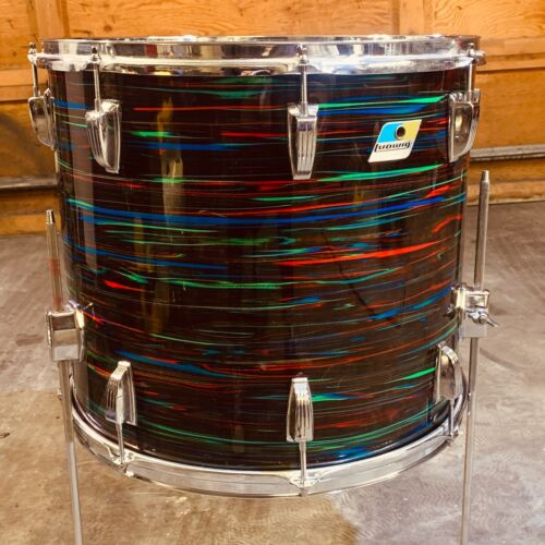 Vintage Ludwig floor tom 18 inch Psychedelic red, bright colors all original