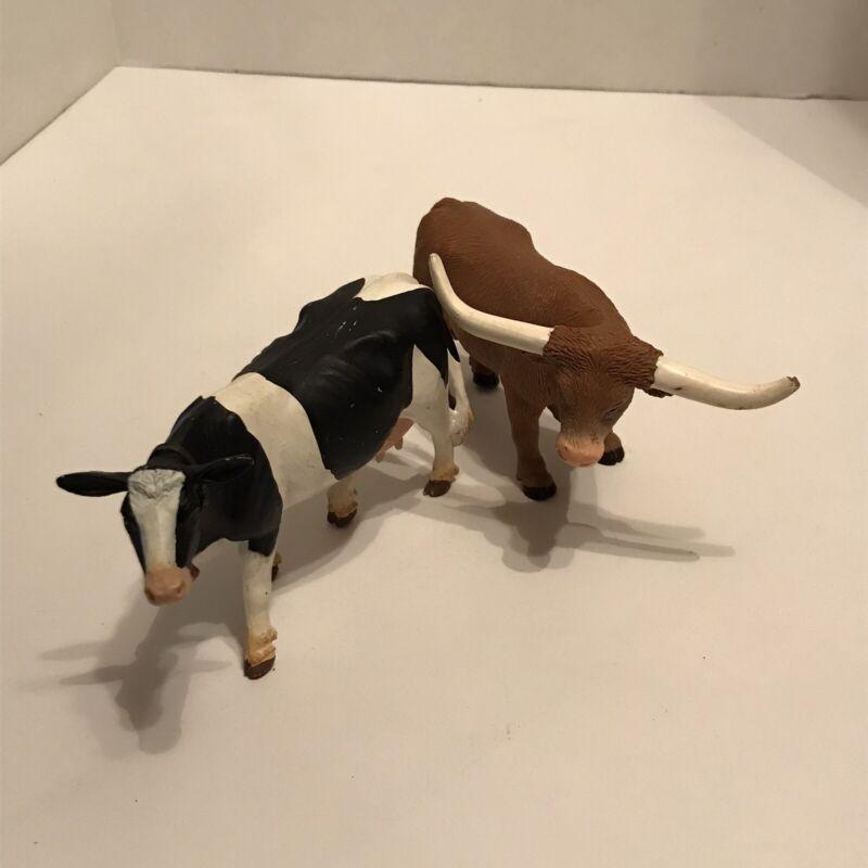 "Safari LTD Cow and Long Horn Bull Figures - 5"""