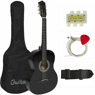 New Beginners Acoustic Guitar w/ Guitar Case Strap Tuner and Pick Black