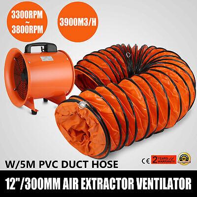 12 Inch Extractor Fan Blower Portable Ventilator Utility Electric Fan 5m Hose