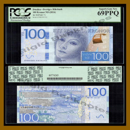 Sweden 100 Kronor, ND 2016 P-71 New Greta Garbo PCGS 69 PPQ