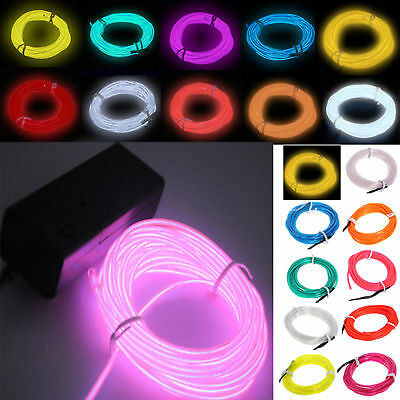 EL Wire String Strip Rope Tube Car Dance Party + Controller (Neon Glow Party)