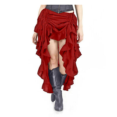 Adult Women's Adjustable Saloon Showgirl Skirt Steampunk Western Burlesque Red](Steampunk Burlesque Costumes)