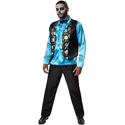 Kostüm Herren Totenkopf Skull Weste Tag der Toten Fasching Karneval (Herren Tag Der Toten Halloween Kostüme)