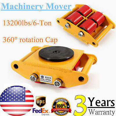 13200lb 6t Heavy Duty Machine Dolly Skate Roller Machinery Mover 360 Rotation