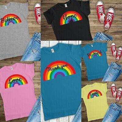 Rainbow thank you faith love be kind hope believe T shirt women's printed shirt