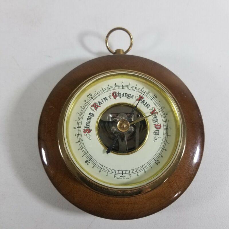 "Vtg West Germany Smiths Barometer Wall Wood Brass Rain Meter 5"""