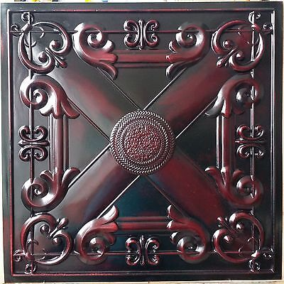 PL22 Faux tin painted aged red wood ceiling tile decor wall panel 10tile/lot