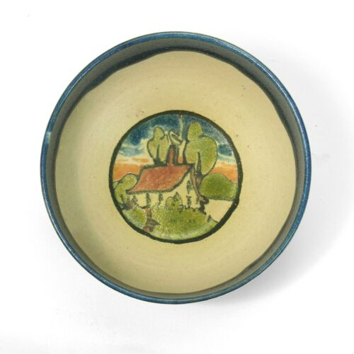 """PRP Saturday Evening Girls pottery 4.25"""" bowl house in landscape arts & crafts"""