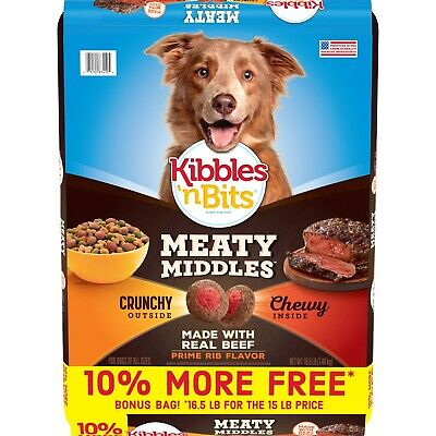 Kibbles 'n Bits Meaty Middles Prime Rib Flavor, Dry Dog Food, 16.5 Pounds