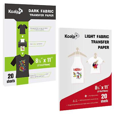 40 Sheets Inkjet Printable Heat Transfer Vinyl Paper For Dark Light Iron-on Htv