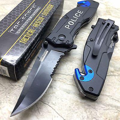 Tac Force Open Assisted Police Cop Rescue Folder Tactical Handy Pocket Knife (Police Folder)