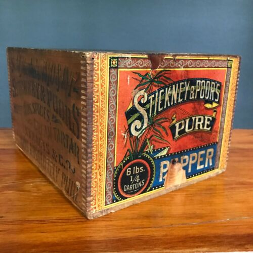 Antique Stickney & Poor Pepper Spice Box Wood Crate Dovetail Stencil Paper Label
