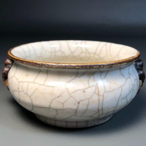 Chinese Antique Crackle Glaze Porcelain Censer, Ge-Type Qing Incense Burner Rare