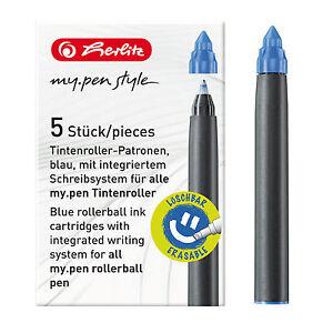 Herlitz Tintenroller-Patronen my.pen blau 5 er Pack , Ersatzpatrone Ersatzmine