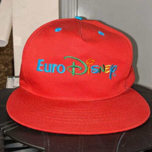 Vintage Euro Disney Hat Cap Disney World Europe Euro Retro Red
