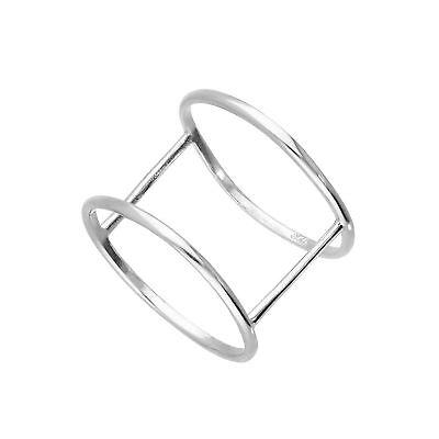 Sterlingsilber Doppel Bandring Größe 48 - 65 (Doppel-band Silber Ring)