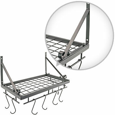 Pan Pot Gadget Accessory Hanging Rack for Cast Iron Pans and Kitchen Goods Metal
