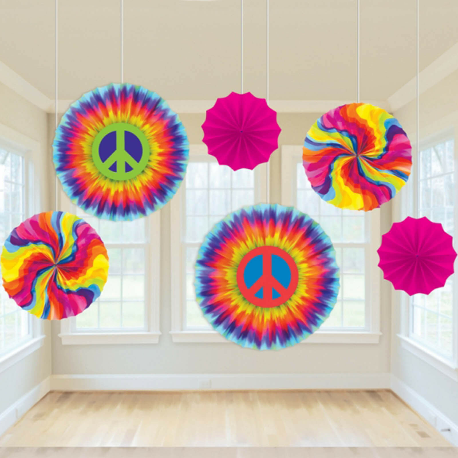 6 Assorted Feeling Groovy 60's Disco Tie-dye Party Hanging Paper Fan Decorations