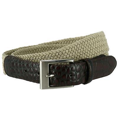 New Toneka Men's Braided Elastic Stretch Belt with Croc Print End Tabs