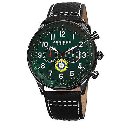 Men's Akribos XXIV AK751GN Swiss Multifunction Tachymeter Black Leather Watch