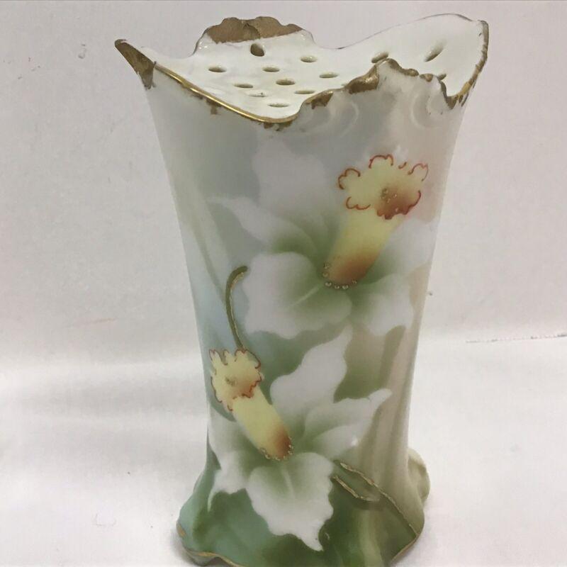 Vtg HATPIN HOLDER Hand Painted Floral Porcelain Daffodil Gold Leaf Made Germany
