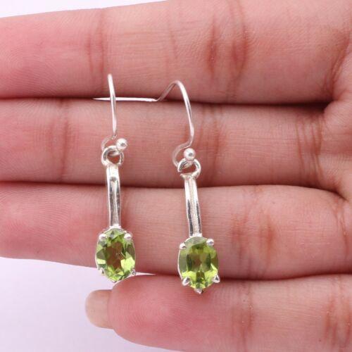Peridot Gemstone Dangle Earrings 925 Sterling Silver Jewelry For Women KB01295