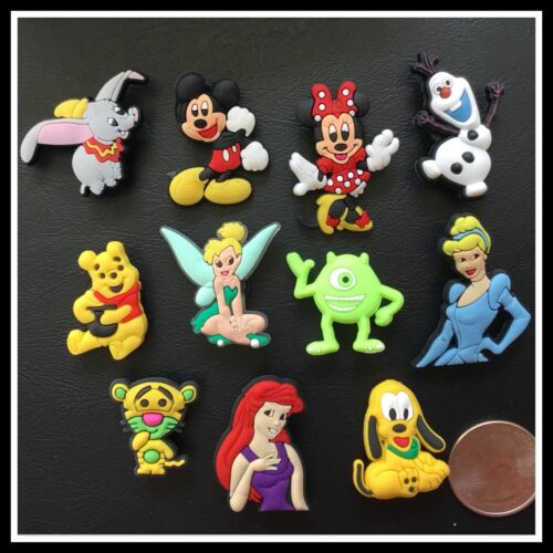 11 Shoe Charms for Crocs Disney Mickey Minnie Pooh Pluto Cinderella Olaf Dumbo