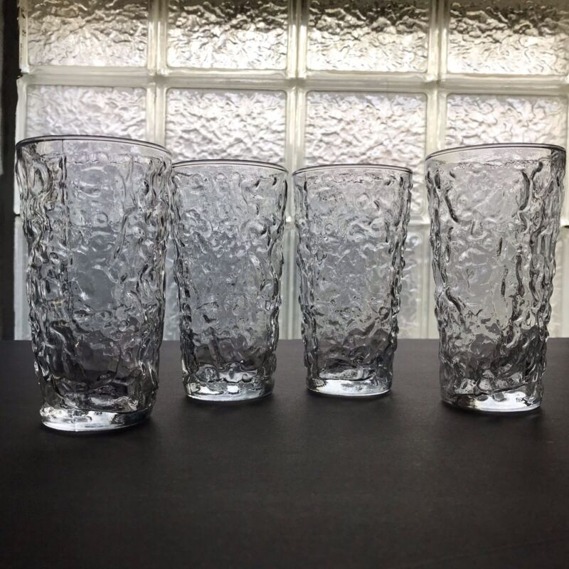 """4 Vintage Anchor Hocking Lido Milano Clear Crinkle Drinking Glass Tumblers. 5.5"""""""