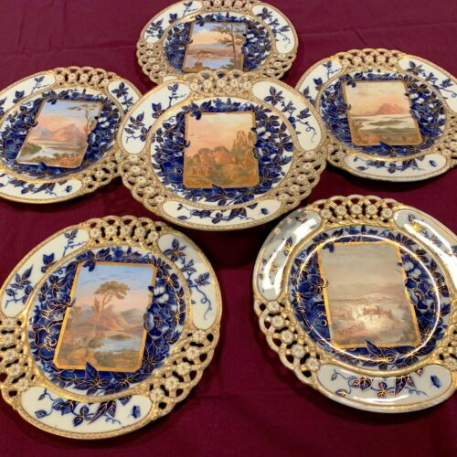 Antique Set of  6  rear  Coalport hand painted scenic cake and dessert plates.
