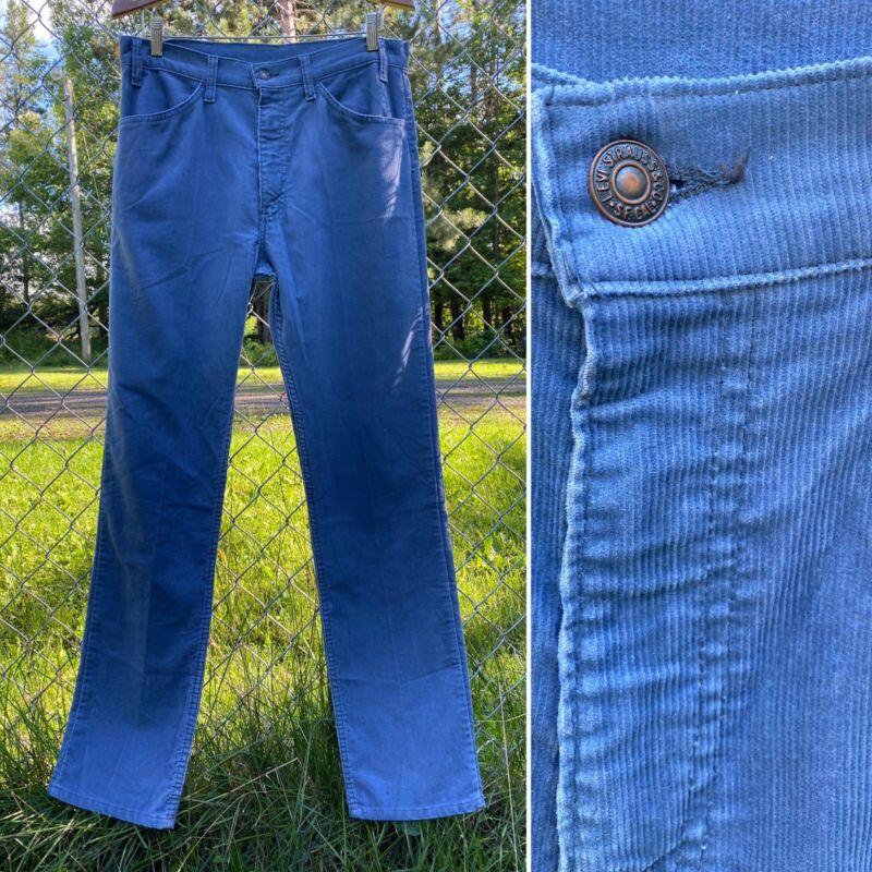 Vintage LEVI'S PANTS Corduroy Blue 1970s Mens 34x34 34 x 34 Straight Trouser