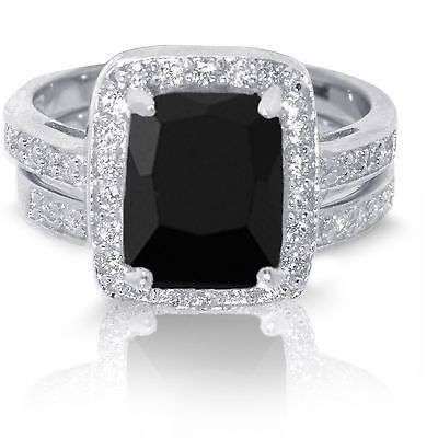 Large Emerald Cut Black Onyx Wedding Engagement Sterling Silver Ring -