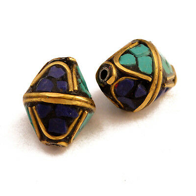 Turquoise Lapis Brass 2 Beads Tibetan Nepalese Handmade Tibet Nepal UB2479