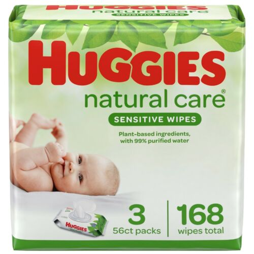 Huggies Natural Care Fragrance Free Soft Pack Wipes - refill (168 Count)