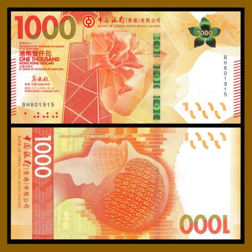 Hong Kong 1000 (1,000) Dollars, 2018 P-New Bank of China (BOC) New Design Unc