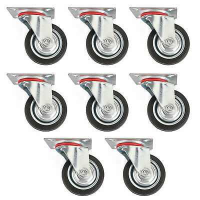 8 Pack 3 Swivel Caster Wheels Rubber Base With Top Plate Bearing Heavy Duty