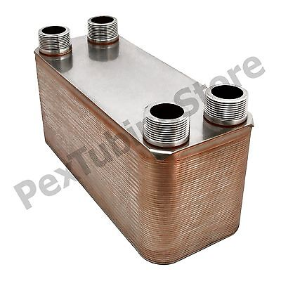 100-plate 5 X 12 Brazed Plate Heat Exchanger 1-14 Mpt Ports 316l St. Steel