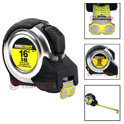 Maxcraft 60403 16 Foot X 3/4 Inch Auto Locking Tape Measure Metric & Standard - Locking Measuring Tape
