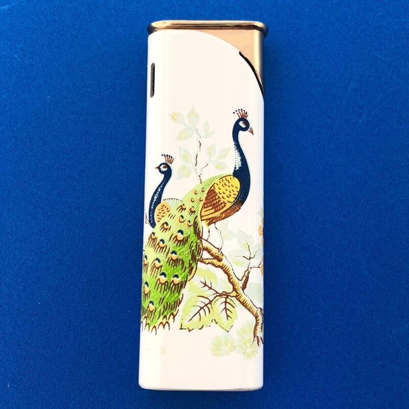 Colibri Gold Tone White Enamel Painted Peacock Pair Torch Cigarette Lighter