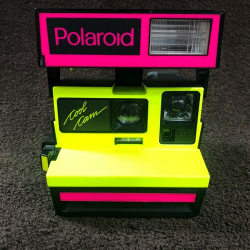 RARE Polaroid 600 Plus Cool Cam Neon Yellow & Pink Untested